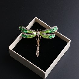 Wholesale White Gold Dragonfly Jewelry - Fashion Gold Plated Rhinestone Dragonfly Brooch Pin Decorative Garment Accessories Animal Brooch for Women Jewelry DHH107
