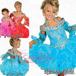 Wholesale Ritzee Girls Tutu - 2016 Tutu Girl's Pageant Dresses Ritzee Girls Beaded Halter off shoulder Tiers Organza Off Shoulder Backless Mini Girl Princess Gowns