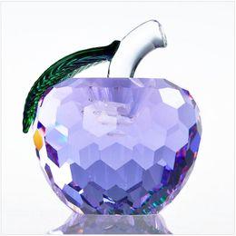Wholesale Apple Quartz - 40mm Cut Crystal Apple Paperweight Glass Quartz Crafts Home Decor Fengshui Ornaments Figurine&Miniature Souvenir Gifts LZ0043