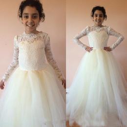 Wholesale White Winter Dresses For Kids - 2016 Winter Modest Long Sleeve Flower Girl Dresses Sheer Jewel Neck Lace Top Soft Tulle Kids Formal Dress for Wedding Party Custom Made