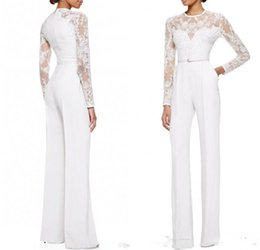 Wholesale T Shirt Straps Suits - 2016 White Elie Saab Mother Of The Bride Pant Suits Jumpsuit With Long Sleeves Lace Embellished Women Formal Evening Wear Custom Made
