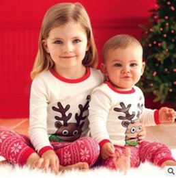 Wholesale Kids Santa Claus Pajamas - Christmas Pajamas Kids Baby Girls Christmas Outfits Sleepwear Girls Nightwear Xmas Santa Claus Elk Snowflake Baby Pyjamas Kids Clothing