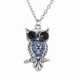"""Wholesale Studded Sweaters - Charm Studded Blue Rhinestone Crystals Hollow Owl Shape Pendant, Dangle, Choker in Long Sweater Chain Necklace 20.9"""", 150N177"""