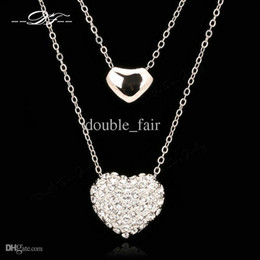 Wholesale Platinum Necklaces Jewellery - Two Love Heart Cubic Zirconia Necklaces & Pendants Platinum Plated Fashion Vintage Jewelry Jewellery For Women Chains DFN031