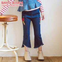 Wholesale Girls Jeans Embroider - Fashion 2017 New Big Girls Denim Pants Children Clothing Flower Embroidered Jeans Pant Tassel Kids Nine point Long Pants Cowboy Pant A7562