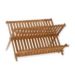 Wholesale Bamboo Flatware - Natural Bamboo Dish Drying Rack Flatware Holder Plate Storage Holder Plate Wooden Flatware Foldable Dish Rack(Wood Color)
