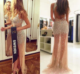Wholesale Black Sparkle Tulle - Sexy Split Illusion Backless Evening Dresses V Neck Sleeveless Crystal Beaded Tulle Champagne Nude Sparkle Pageant Dresses Evening Gowns