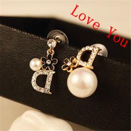 Wholesale Pearl Alphabet - Asymmetric Earrings for Women Crystal Letter D Shape Earrings Crystal & Pearl Drop Dangle Earrings Gold plated Party Fashion Jewelry