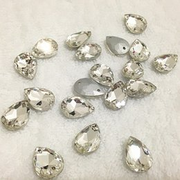 Wholesale Patriotic Clothing - Pointback Pear Sew On Stones Crystal Clear Color Two Holes 10x14 13x18 18x25 20x30mm Sewing Glass Crystal For Clothing Making