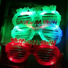 Wholesale Led Glowing Eyes - Fashion Happy New Year LED Flashing Glasses Glowing Eye Glasses Light Up Kids Toys Christmas Halloween Glow Party Supplies CCA8117 1500pcs