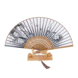 Wholesale Purse Favors - Wholesale- Silk Brown keel lotus Blossom Hand Fan Folding Purse Pocket Fan Wedding Party Favors Decorations Wedding Supplies Chinese Gifts