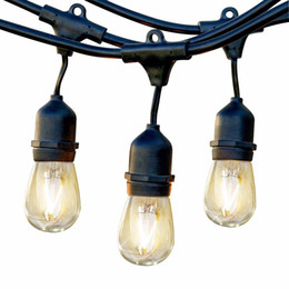 Wholesale Wholesale Led Heavy Duty Lighting - Outdoor Commercial String Lights 48 Feet Heavy Duty Weatherproof Vintage Patio Lights 16 Gauge Black Cable with 15 Hanging Sockets15 Bulbs