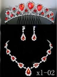 Canada 2019 vente chaude pas cher mariée bijoux en gros diamant rouge cristal bijoux collier bijoux ensemble livraison gratuite Offre