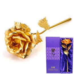 Wholesale Gift Baskets Weddings - Lovers Flowers 24K Golden Rose Wedding Decoration Golden Flower Romantic Valentines Day Decorations Gift Gold Rose Wholesale
