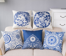 Wholesale Blue White Porcelain Pillow - Phoenix Throw Pillow Covers Blue and White Porcelain Cotton Pillow Case Cushion Cover Reindeer Pillowcases Sofa Car Decorative Pillow cover