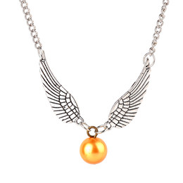 Wholesale Harry Potter Necklace For Men - Movie Hot Sale Vintage Punk Style Harry Angel Wing Potter Charm Golden Snitch Pendent Necklace For Men Women 2 Colors 6