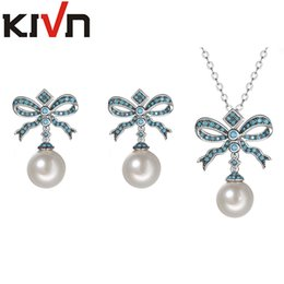Wholesale Copper Ribbon - KIVN Womens Fashion Jewelry Set Bow Ribbon CZ Cubic Zirconia Simulated Pearl Earring Necklace Jewelry Set Mothers Birthday Gifts