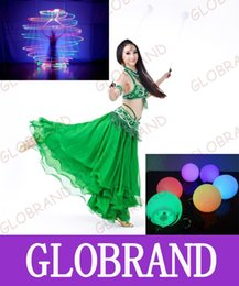 Wholesale Belly Dance Balls - GLXY07 2016 Hot Selling LED Hand Props Women LED Poi Thrown Balls For Accessories Hand Belly Dance Props Flash Vinyl PVC Shook Ball
