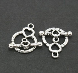 Argentina 100Sets Silver Plated Toggle Broche Ring Round Heart Cierres para hacer joyas pulseras 14x18mm silver ring toggle clasps for sale Suministro