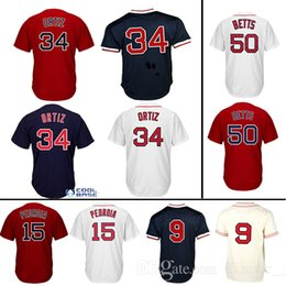 Wholesale Pedroia Jersey - #34 David Ortiz #15 Dustin Pedroia Jersey #50 Mookie Betts Jerseys 100% Stitched Baseball Free Shipping Jerseys
