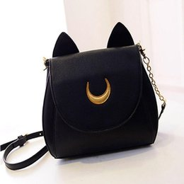 Wholesale Nice Black Leather Bags - Nice bolsos carteras mujer women sailor moon bag cat ears pu Leather crossbody bag fashion shoulder chain messenger bag
