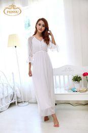 Wholesale Princess Pajamas Ladies - Wholesale-Free Shipping Princess White Long Pajamas Chiffon and Modal Nightgown Women's V-neck Sleepwear Ladies pijamas femininos