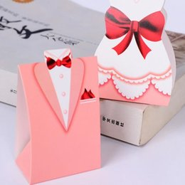 Wholesale Dolls Married - 100 Piece Creative Pink Wedding Candy Box Paper Hand Box To Get Married Portable Box Bride And Groom Box Wedding Dress Box