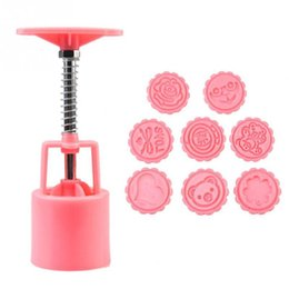 Wholesale Cake Decorations Moon - 1Set 8 x Different Stamping Plate Round Moon Cake Mold Pastry Printing Decoration Mould