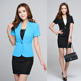 Wholesale Ladies Short Skirt Suits - Wholesale-Formal Office Uniform Styles Women Suits with Skirt and Blazer Sets Outerwear Jacket Ladies Business Suits OL Work Wear Clothing