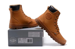 Wholesale palladium shoes men - PALLADIUM Pampa Classic brown High-top Men Canvas Shoes Top Fashion Lace-up High Style Solid Colors Flat With Casual Shoes 40-44