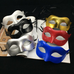 Wholesale Masquerade Masks Hip Hop - on sale Halloween Mask Venetian Masquerade Party Mask Hip Hop Dance Mask Mardi Gras Costume Wedding Mask gold silver black white red blue