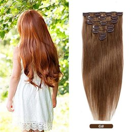 Wholesale Chinese Style Hair Clips - Clip in Remy Human Hair Extensions Full Head 7 Pieces Set Short Long length Straight Very Soft Style Real Silky for Beauty