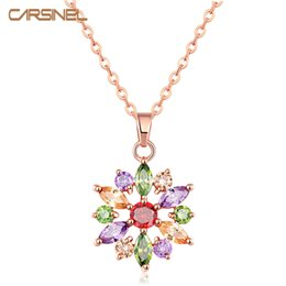 Wholesale Rose Gold Pendent - Wholesale- Trendy Girls Favorites Flower Shape Necklace Multi-Color Zircon Stone Rose Gold color Chain with Pendent for Women Party NE0116