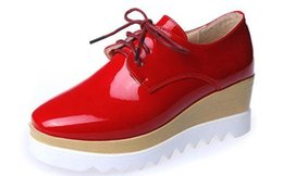Wholesale American Wedges - High-heeled patent leather shoes 2015 spring new European and American women's singles shoes slope with thick crust muffin