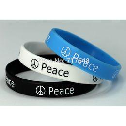Wholesale Fashion Express - Wholesale- 300pcs Debossed Fashion funky PEACE wristband silicone bracelets free shipping by FEDEX express