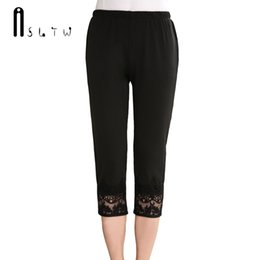 Wholesale Summer Women Half Pants - ASLTW Embroidery Solid Summer Thin Women's Pants 2017 New Plus Size Half Length Capris Elastic Waist Straight Lace Pants Women