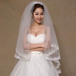Wholesale Ivory Lace Veils Short - Wedding Veils 2016 Appliques Tulle Short Wedding Veil Lace Edge Bridal Veil with Comb veu de noiva longo Free Shipping