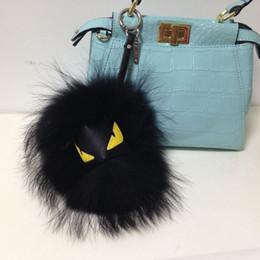 Wholesale Metal Heart Keys - pom wallet Purse Pom Pom real imp Raccoon fur monster doll keychain charm golf cart bag pendant strap plush keyring15-18cm A02