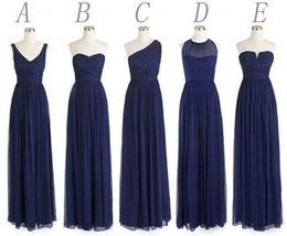 Wholesale Simple Navy Homecoming Dresses - Navy blue bridesmaid dresses long bridesmaid dresses chiffon bridesmaid dresses, mismatched bridesmaid dress cheap bridesmaid dresses