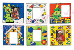 Wholesale Clear Plastic Christmas Trees - 12PCS LOT.Paint unfinished christmas photo frame sun catcher,Christmas tree ornament,Christmas crafts.6 design,13x7cm