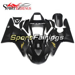 Wholesale Yamaha R1 Gold Fairings - Bodywork For Yamaha YZF1000 1998 1999 98 99 R1 Injection ABS Fairings Motorcycle Bodywork Kit Injection R1 Plastics Black Gold Decals Covers