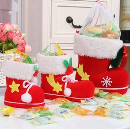 Wholesale Plastic Flock Box - 4 Sizes Christmas Candy Boots Santa Claus Flocking Boots Stockings Decorative Candy Gift Box Home Decoration Supplies