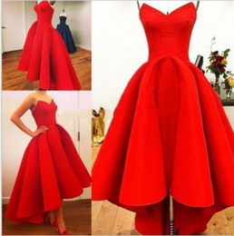 Wholesale Evening Gown Bridesmaid Knee Length - Red Stock Vintage 1950s Hi Lo Red Party Prom Dresses Formal Bridesmaid Gown Formal Evening Gowns QC196
