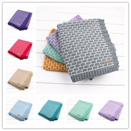 Wholesale Quilt Crochet - 13 colors Kids brick pattern jacquard knitting blanket 95x75cm cute baby girls boys crocheted swaddle ins hot infants knitted quilt