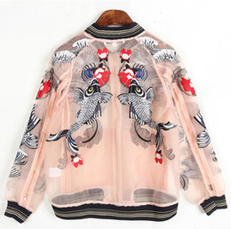 Wholesale Floral Jacket Short - 2017 floral embroidered bomber jacket organza women jackets long sleeves jewel neckline ladies outerwear coats women clothing
