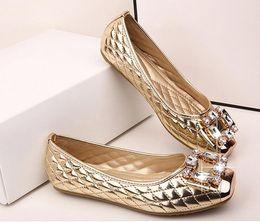 Wholesale Plus Size Black Slip - Spring and Autumn Ballet Flats Women Elegant Brand Shoes Diamond Design Women's Flats Luxury Plus Size 35-42