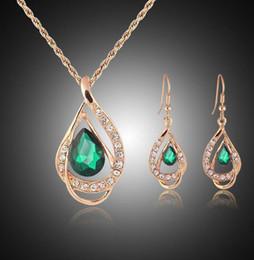 Wholesale African Jewellery Wholesalers - Bridesmaid Jewelry Set Solid Gold Earring Necklace Pendants Swarovski Australian Crystal Jewelry Indian Jewellery Set Party Jewelry Set