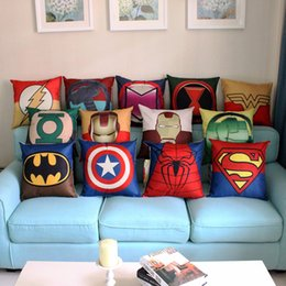 Wholesale Green Black Throw Cushions - 45cm The Avengers Super Hero Cotton Linen Fabric Throw Pillow 18 Inch Fashion Gift New Home Decor Sofa Car Office Nap Back Cushion