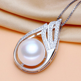 Wholesale Natural White Pearl Necklace - AAA+11-12mmwhite South Sea genuine natural freshwater pearl Pendant Necklace