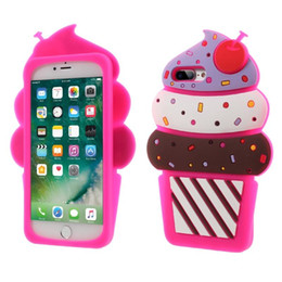 Wholesale Cupcake Silicon - Cartoon Case For iPhone 8 6 6s 7 plus New Design 3D Cute Cherry Cupcakes Ice Cream Shaped Soft Silicon Case Cover Opp Bag